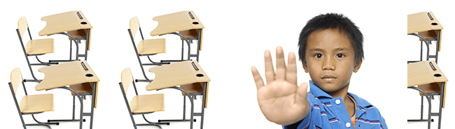 classroom desks and a boy holding out his hand
