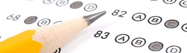 pencil on a standardized test sheet
