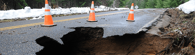 sinkhole along a road