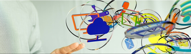graphics of office objects on discs floating in air