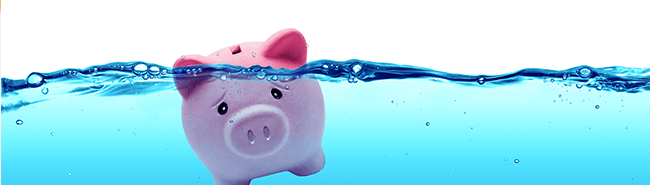 piggy bank underneath water